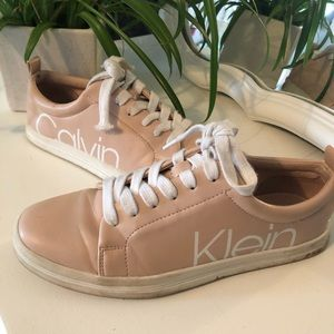 Light Pink Leather Calvin Klein Sneakers